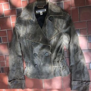 Express Moto-Style Taupe Leather Jacket